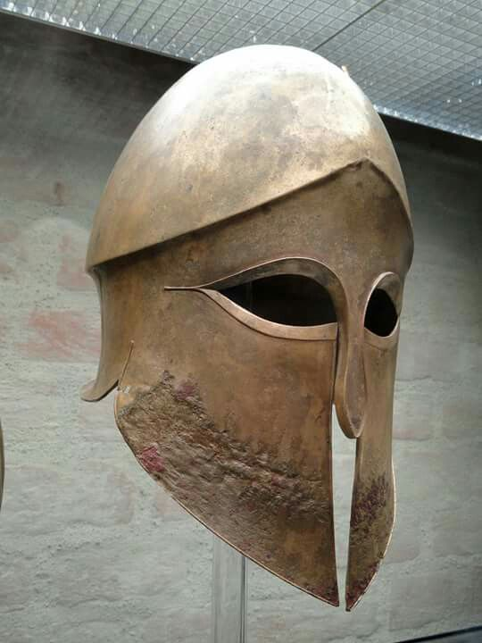 Corinthian helmet from the tomb of Denda. The name of the warrior (Denda) is engraved on the left greave. From a Greek workshop in South Italy, 500–490 BC