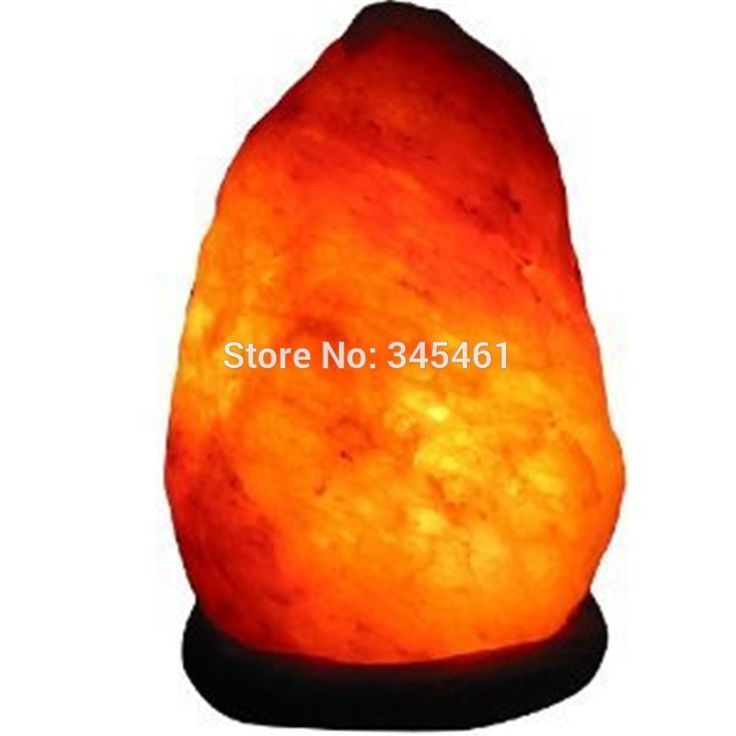 100% New Himalayan Salt Lamp with Neem Wood Base+Plug+Switch+LED Lamp for Air Purification Therapy Natural Mineral Rock Light