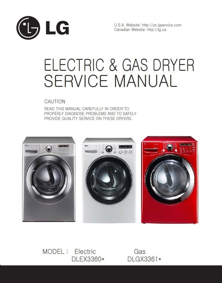 Lg Dlex3360v Dlex3360w Dryer Service Manual And Repair Guide Repair Guide Appliance Repair Shop Appliance Repair