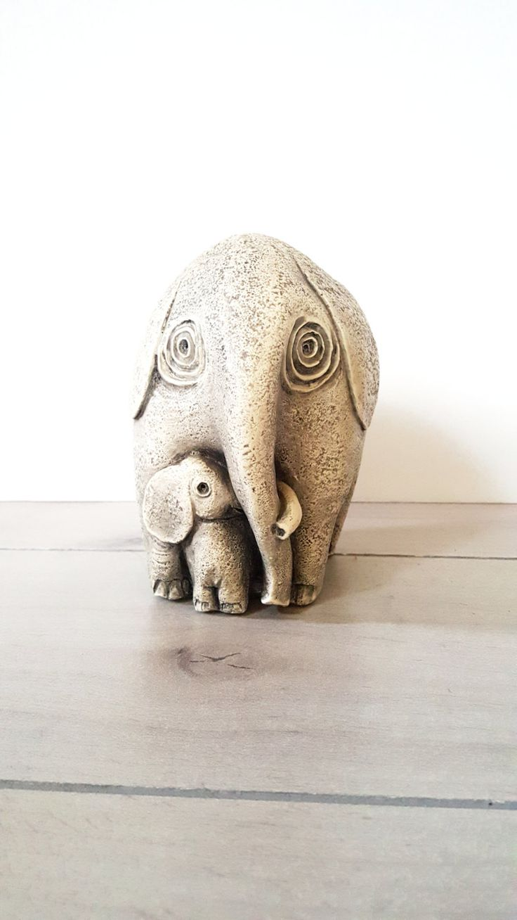 26 best elephants images on pinterest elephant plant stands and elephant and calf figurine statue vintage home decor baby nursery decor
