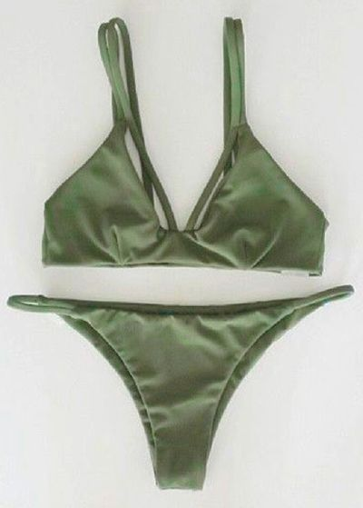 $11.12 Alluring Spaghetti Strap Scrunch Bikini Set - GREEN M