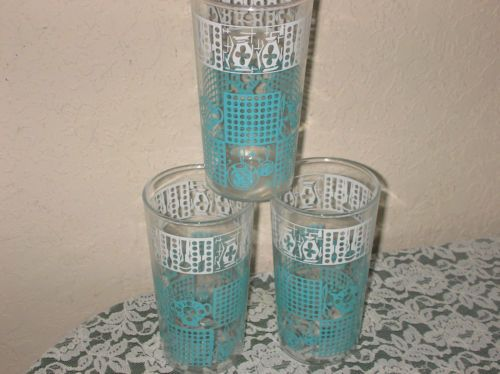 Vintage 1950s Turquoise White Drinking Glasses Set of 3