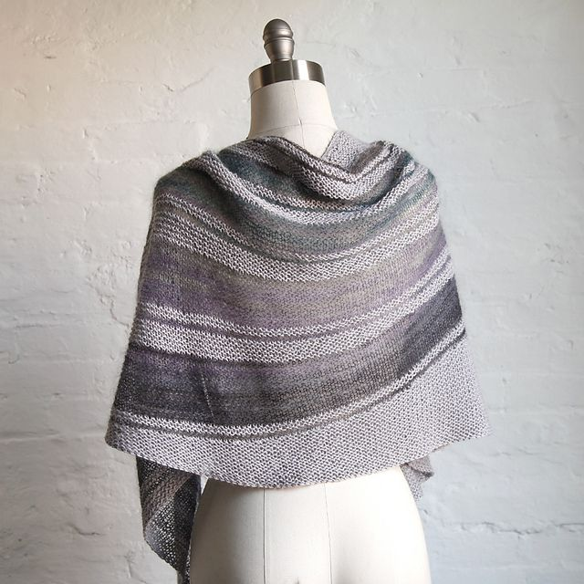 Ravelry: Swerve pattern by Deborah Frank. Swerve is an asymmetric, crescent shaped shawl constructed from the top down, with kidsilk mohair stripe short-rows, and garter stitch. No purling! No picking up wrapped stitches. It's easy, gauzy and lightweight, and can be wrapped many different ways.