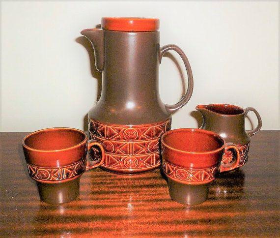 Vintage 1970s Beswick of England Brown Stoneware Teapot Design 2211 With Matching Creamer Milk Jug and Two Mugs / Retro ceramic Tea Set by V1NTA6EJO