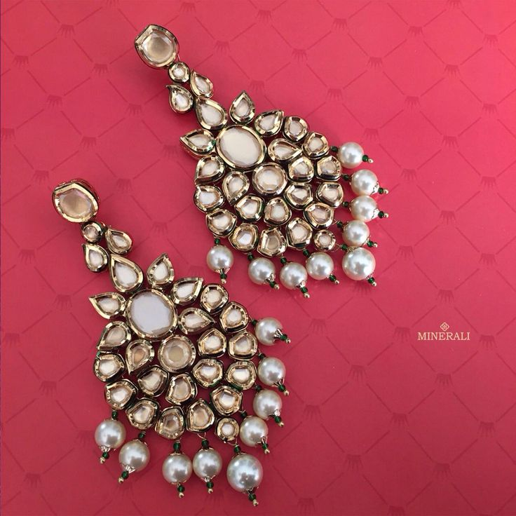 Add these adorable earrings with kundans in the most innovative design to your…