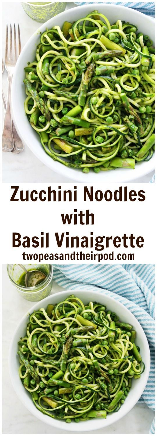 Zucchini Noodles with Asparagus, Peas, and Basil Vinaigrette Recipe on twopeasandtheirpod.com This easy and fresh zucchini noodle dish is perfect for spring! It is gluten-free, vegan, and delicious! You will LOVE the basil vinaigrette, it is full of flavor!