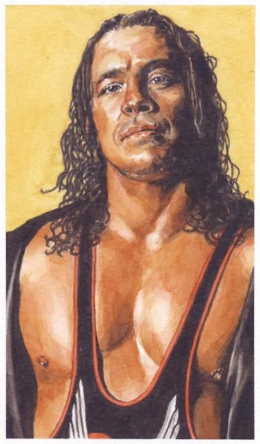 watercolor portrait painting of WWE pro-wrestler Bret 'the Hitman' Hart  by Ben Temples   http://smoothdaddyride.blogspot.com/