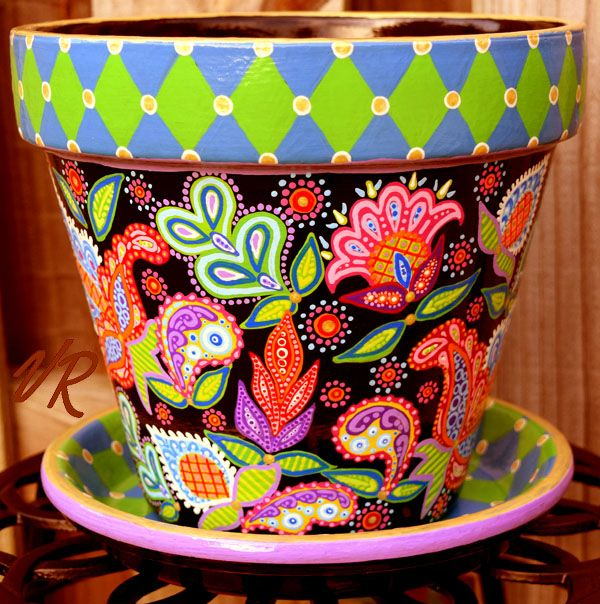 Indoor flower pot planter with matching saucer. Hand-painted one of a kind art and craft. Vera Bradley inspired paisleys and argyle checks on a black background.
