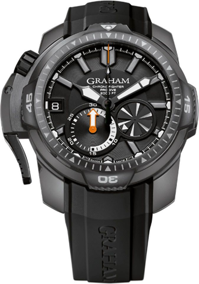 diver watch on main oversize with in strap seal chronofighter watches rubber pvd black deep steel dial oversized graham
