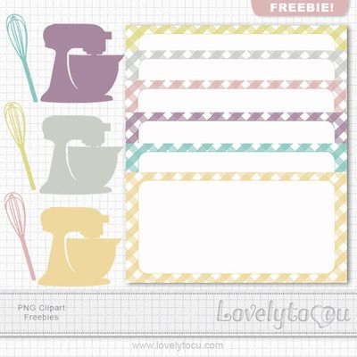 Free kitchen label and clip art set.   Download here. Color Set