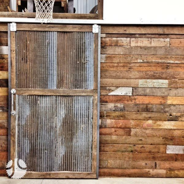 corrugated sliding door custom sliding barn door reclaimed wood corrugated metal for the. Black Bedroom Furniture Sets. Home Design Ideas