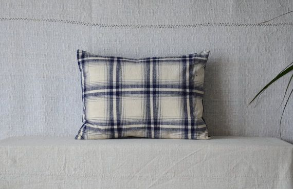 Checked pillow blue white traditional pattern by EthicalLifeStore