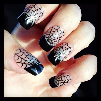 DIY halloween nails: DIY Halloween nail art : Halloween Spiderweb Nails / LOTD