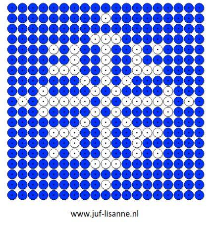 www.juf-lisanne.nl Sneeuwvlok kralenplank