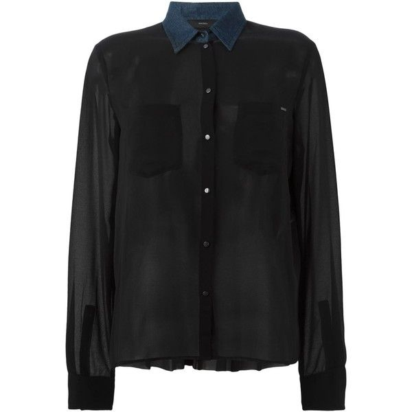 Diesel Denim Collar Sheer Shirt (1,075 CNY) ❤ liked on Polyvore featuring tops, shirts, black, diesel tops, shirt tops, sheer shirt, denim collared shirt and see through tops