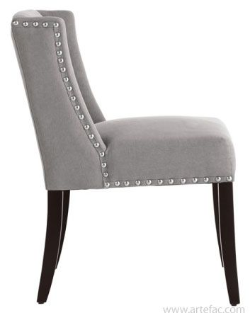 Leather Dining Room Kitchen Chairs Low Back Wing Chair In Grey Fabric