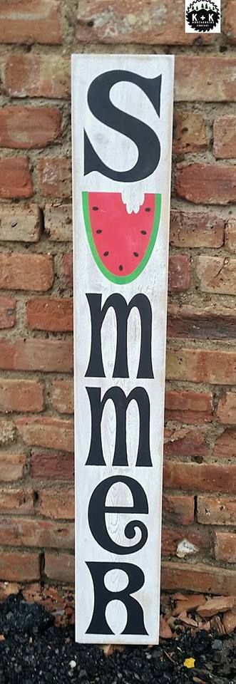 Primitive Handmade Wooden Vertical Summer Sign Rustic Watermelon 3ft tall Porch | Home & Garden, Home Décor, Plaques & Signs | eBay!