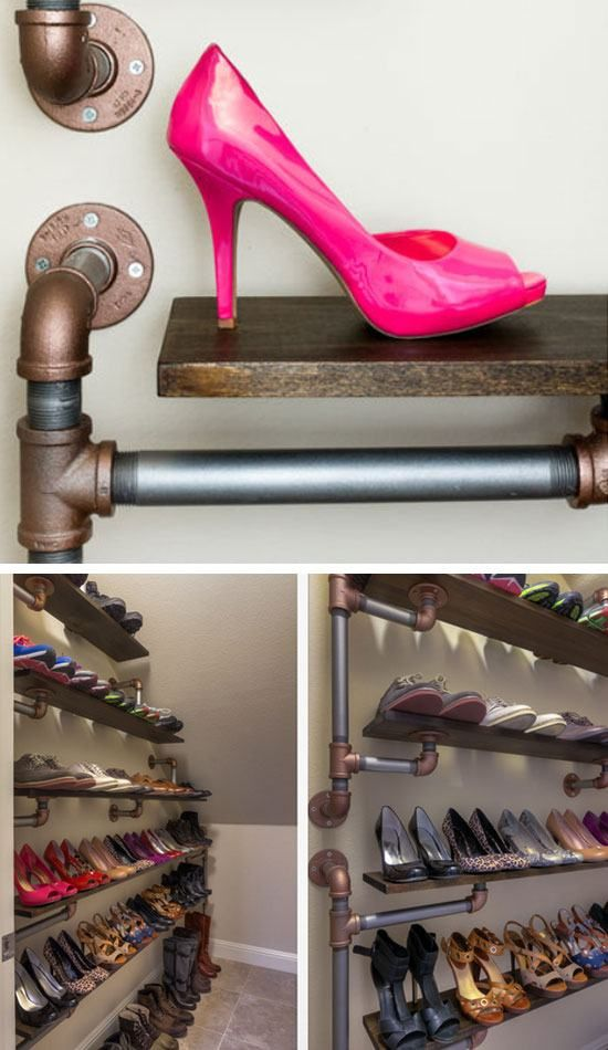 18 diy shoe storage ideas for small spaces iron pipe shoe rack and organization ideas. Black Bedroom Furniture Sets. Home Design Ideas