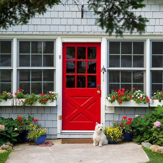 bright red front door / grey house color ideas  love red doors! ----love the candy apple red...painting your front door red is supposed to bring prosperity into your home...worth a try ; )