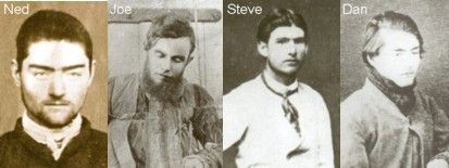 The Kelly Gang - L - R - Ned Kelly, Joe Byrne, Steve Hart and Dan Kelly (N. Kelly's brother)