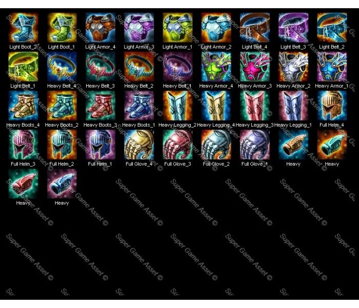 Complete set of Game 156 Icons suitable for RPG of character's weapon, equipments and trinkets. These are designed for various classes of characters such as warrior, mage, wizard, hunter etc.  Includes 4 colour variations for each piece of equipment.