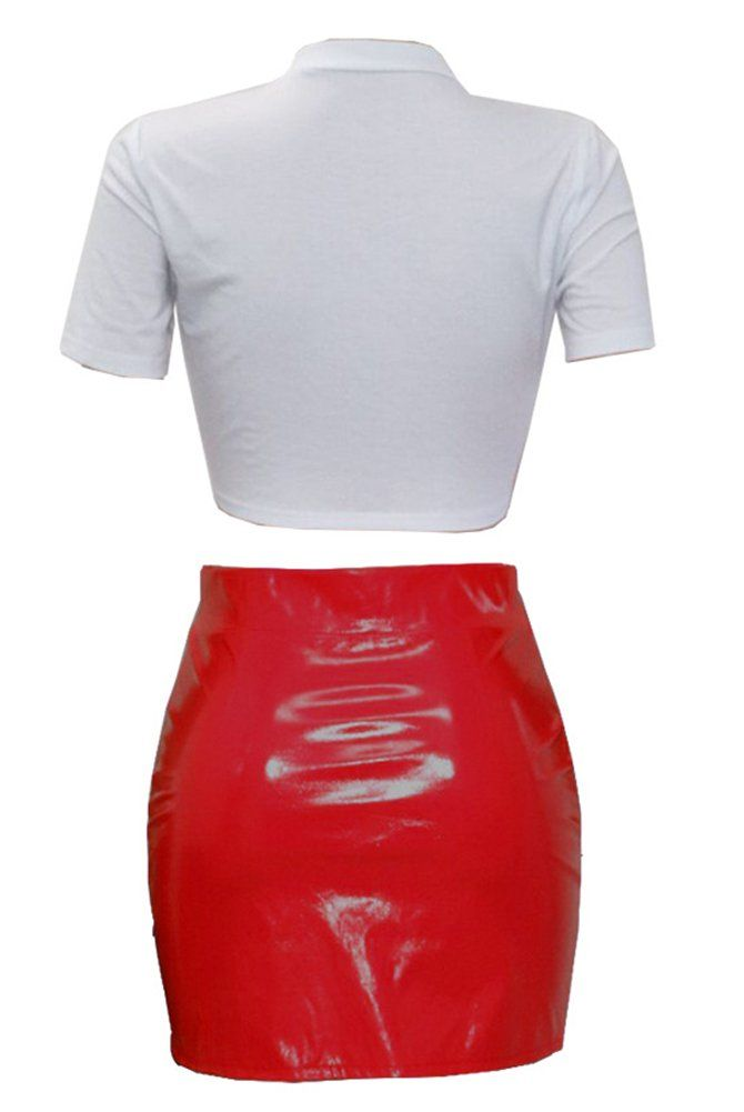 35874508cf24a Women Two Piece Outfit Clubwear Lip Print Crop Top PU Leather Bodycon Mini  Skirt Party Dress Red S >>> Click on the image for additional details.