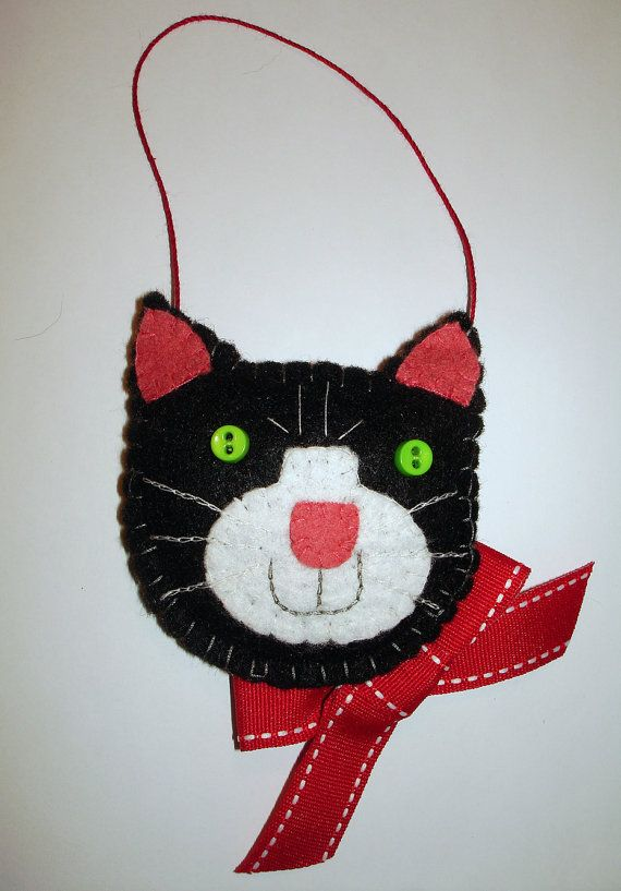 Felt Tuxedo Cat Christmas Ornament All Hand-Stitched by MyDisgustedCats on Etsy, $10.00