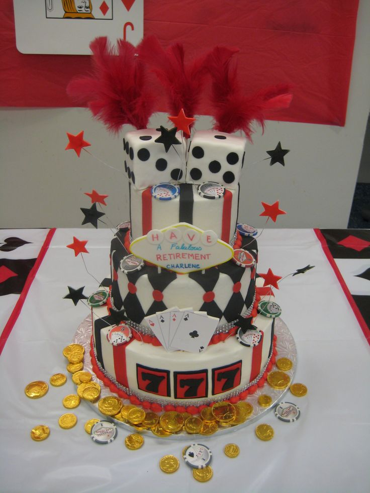 Three Tier Casino Themed Retirement Cake Special Events