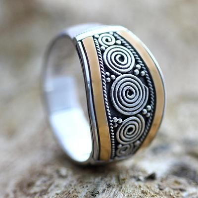 Sterling Silver and Gold Accent Ring - Celuk Legend | NOVICA