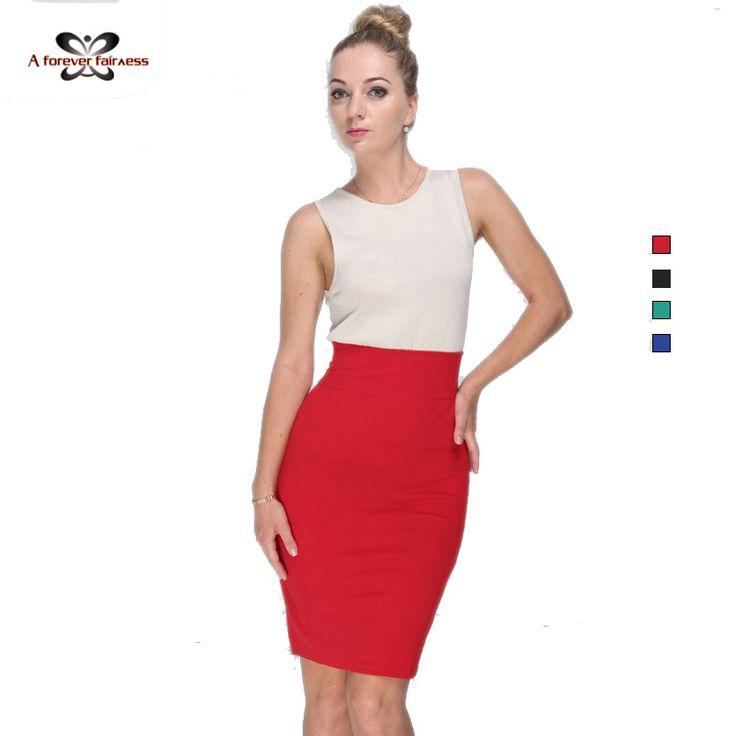 High Elastic Slim Office Package Skirts Women Summer Skirt Black Green Red Knee Length Pencil Skirt High Waist Skirts 662