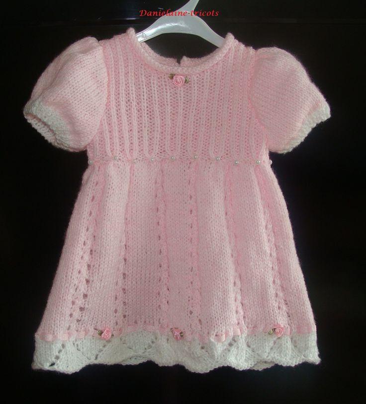 Commande...Robe rose tricotée à la main pour bébé 3 mois : Mode Bébé par danielaine-tricots-enfants