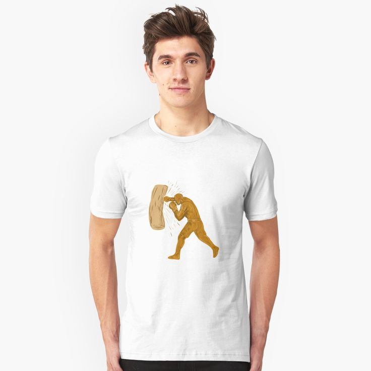 """Boxer Punching Bag Drawing"" Unisex T-Shirt by patrimonio   Redbubble  #boxing #boxer #tshirt"