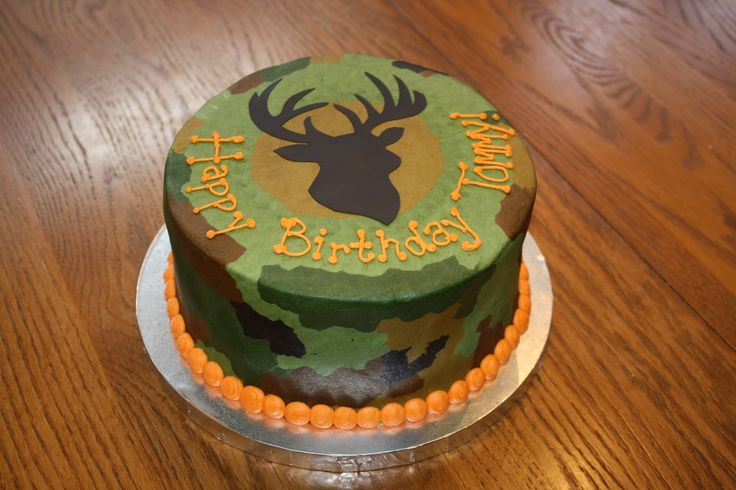 made this cake for a man who loves hunting this was a red velvet cake ...