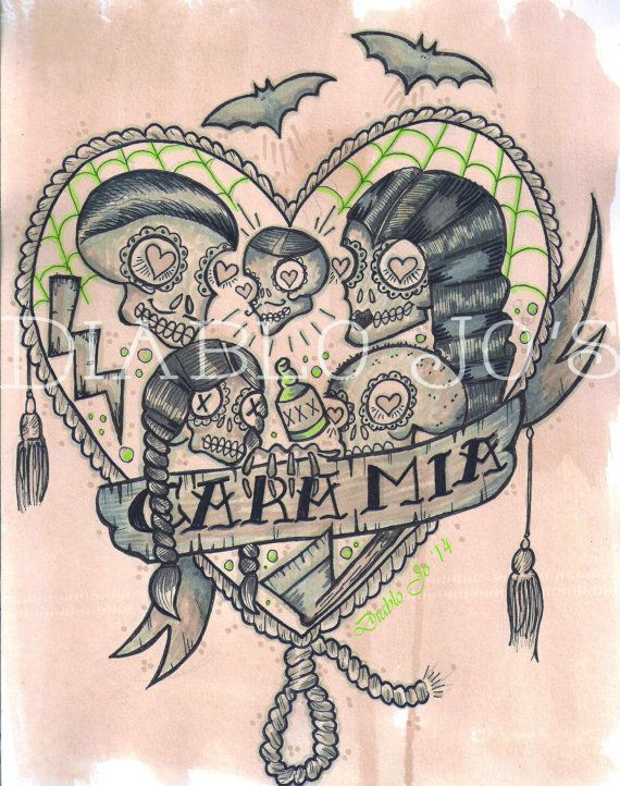 Addams Family A4 Illustration Prints Artwork Tattoo by DiabloJos, £10.00