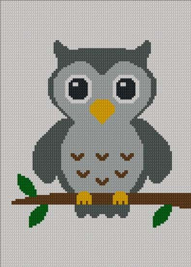 Easy Too Cute Gray Baby Owl Crochet Knit Cross Stitch Afghan Pattern Graph