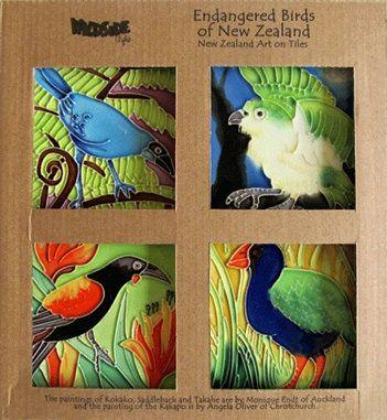 Endangered Birds of New Zealand set of 4 10x10cm Ceramic Tiles | Images Transformed