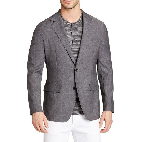 Men's Bonobos Jetsetter Trim Fit Wool Blazer ($450) ❤ liked on Polyvore featuring men's fashion, men's clothing, men's sportcoats, light grey, bonobos men's clothing, mens blazer jacket, mens light grey blazer, mens wool blazer and men's apparel