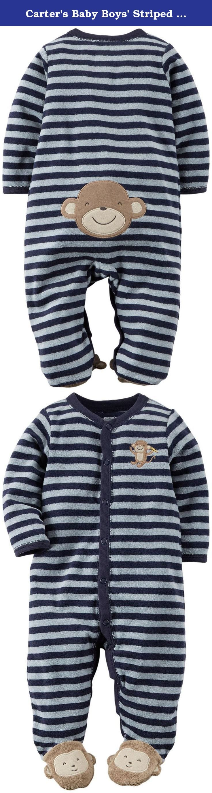 Carter's Baby Boys' Striped Terry Footie (Baby) - Monkey - 9 Months. Carters Striped Terry Footie Baby Monkey Carters is the leading brand of childrens clothing gifts and accessories in America selling more than 10 products for every child born in the U.S. Their designs are based on a heritage of quality and innovation that has earned them the trust of generations of families. Features: ul Snaps from ankle to chin. Nickel free snaps on reinforced panel. Monkey applique & footies. /ul.