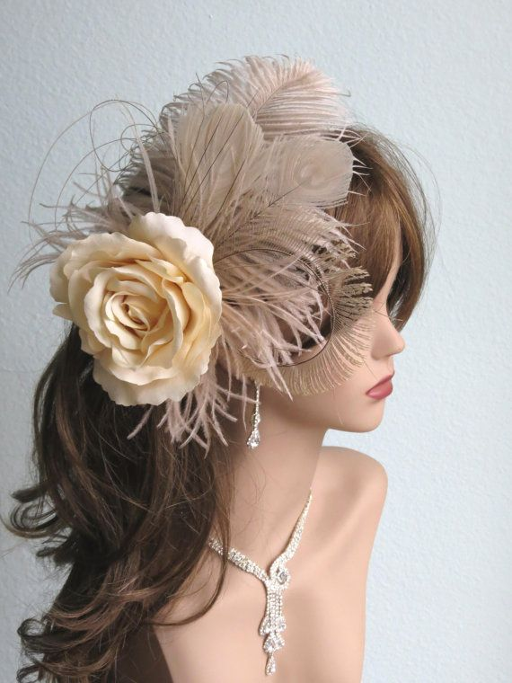 Hey, I found this really awesome Etsy listing at https://www.etsy.com/listing/155673513/champagne-wedding-hair-clip-fascinator