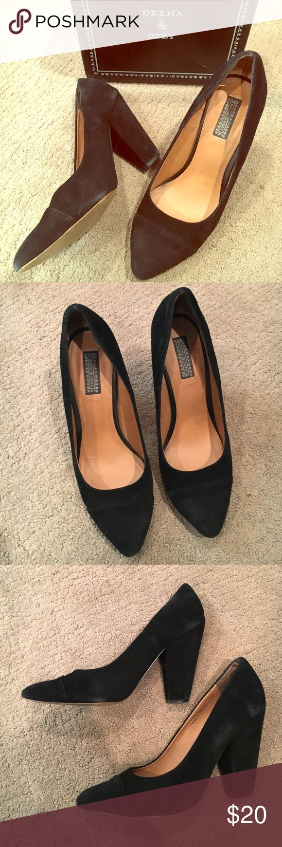 Deena & Ozzy Sexy Vintage Black Faux Suede Pumps Used - W/O tags. Purchased these via POSHMARK and was sad when I got them as my feet did not fit them (I am in between sizes). Item has been worn by previous buyer. Just looking to make my $$$ back on this item. Worn and used, with little wear visible in last photo - in great condition! Price negotiable. Just offer! Deena & Ozzy Shoes Heels