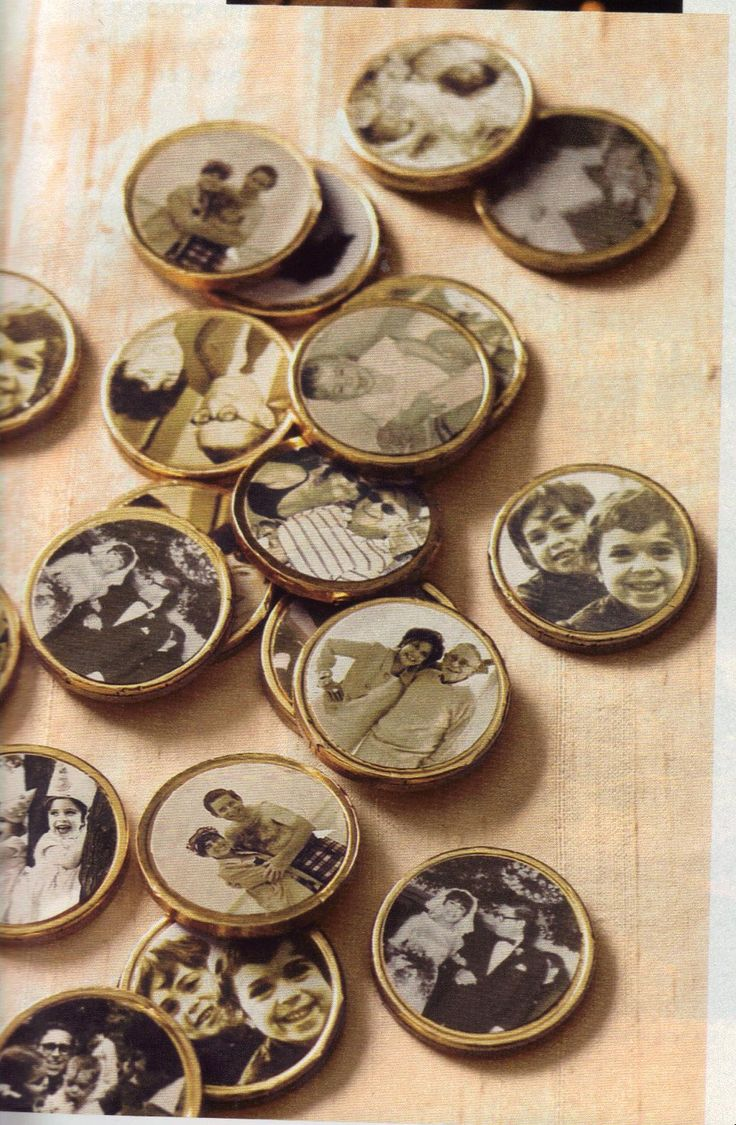 Chocolate coins with personal pictures. Pictures printed on regular label paper. Such a neat idea for wedding tables or Silver, Golden Anniversaries