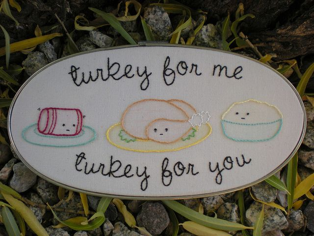 "Happy Thanksgiving! by xperimentl (Poppy) ~ ""Cranberry, turkey, and mashed potatoes from ""The Harvesters"" pattern set by Mollie Johanson aka Wild Olive (etsy seller: Mollie Johanson). I added the wording (lyrics from Adam Sandler's ""Thanksgiving Song""). Lightly tinted with colored pencils."""
