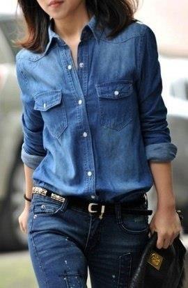 Рубашка джинсовая женская