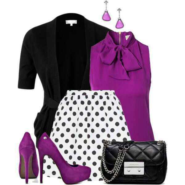 Purple bow on collar sleeveless shirt with poka dot skirt. So cute!