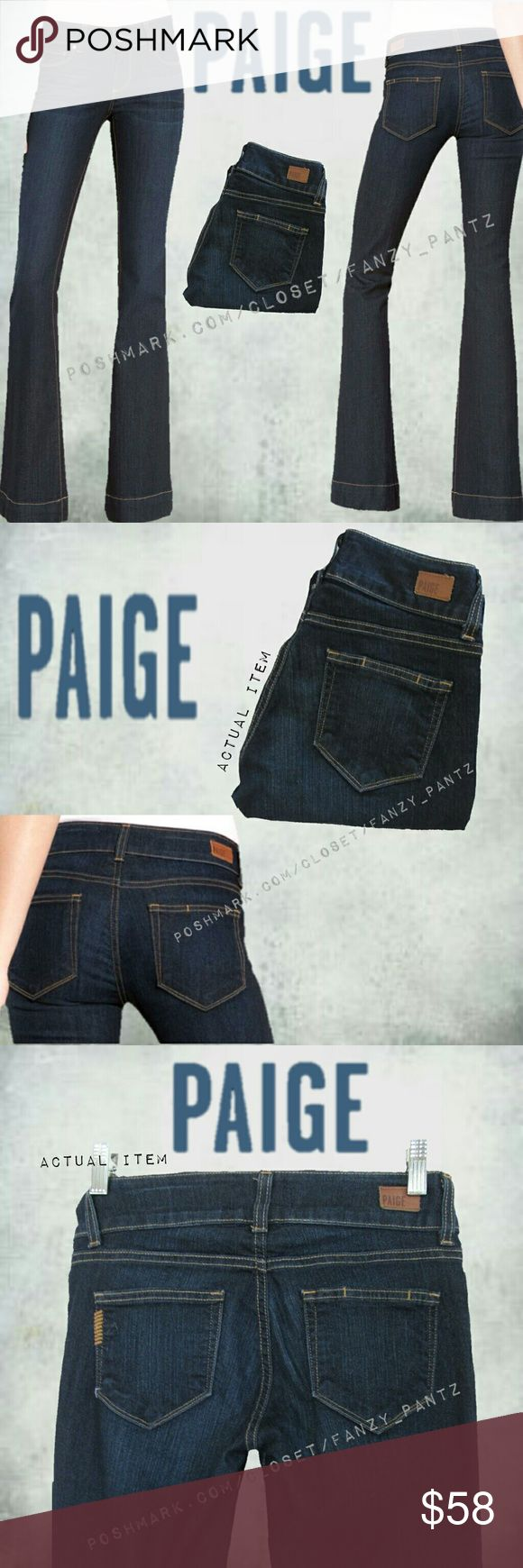 Paige Jem Flare jeans 25 x 31 (petite) NWOT Paige Denim ~ Jem Flare Petite~ stretch ~ mid-rise ~ 'Stream' (dark blue) wash ~ petite fit = 31 inch inseam~ stock photos (shown modeled) are taken from Nordstrom webpage and are identical style/wash. All 'unmodeled' photos are of actual item for sale and taken by me. Measurements and other item specifics can be found in photo 6.  ABSOLUTELY NO TRADES PLEASE  REASONABLE OFFERS WELCOME THROUGH OFFER FEATURE PAIGE Jeans Flare & Wide Leg