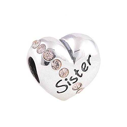 """925 Sterling Silver Bling Crystal """"Sister"""" Charm Bead Fits Pandora Charms. """"Sister"""" Charm Bead. Bling Swarovski Crystal Bead. 925 sterling silver charm. Unthreaded European story bracelet design. Compatible with Pandora, Biagi, Troll and Chamilia European bracelets."""