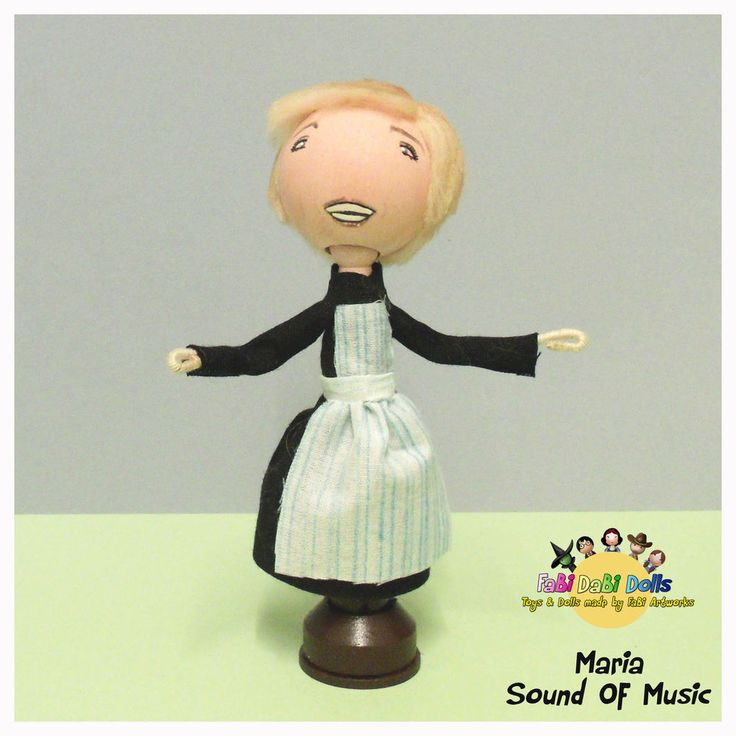 Maria from Sound Of The Music peg doll by FaBi DaBi Dolls