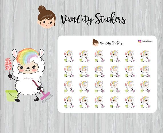 Cleaning Stickers Cleaning Day Stickers Llama Planner