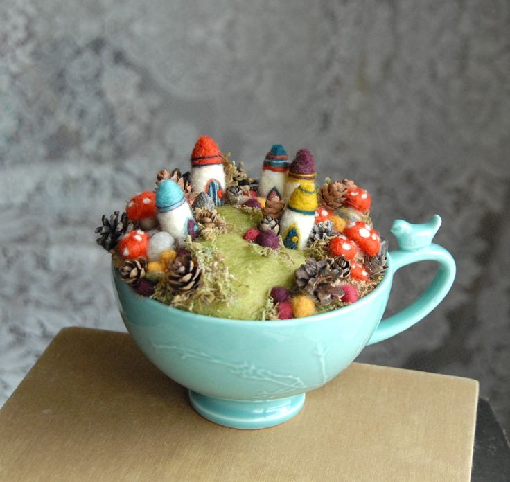 Tiny Fairy Houses and Village, Waldorf Fairy Garden in a Cup, Needle Felted. $89.00, via Etsy.