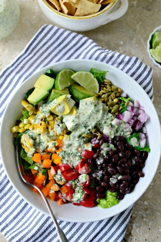 Mexicali Chopped Salad with Creamy Cilantro Lime Dressing by simplyscratch #Salad #Chopped #Healthy